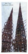 Watts Towers 2 - Los Angeles Beach Towel