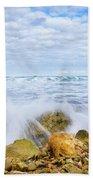 Wave Splash Beach Towel by Gary Gillette