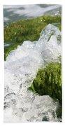 Wave Splash On The Green Rock Beach Towel
