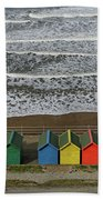 Waves And Beach Huts - Whitby Beach Towel