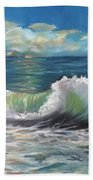 Waves At Sunset  Beach Towel