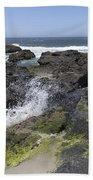 Waves Crash Ashore On A Lava Bed Beach Towel