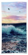Waves Crashing At Sunset Beach Towel
