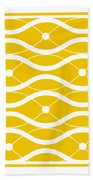 Waves With Border In Mustard Beach Towel
