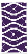 Waves With Border In Purple Beach Towel