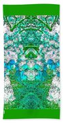 Waxleaf Privet Blooms In Aqua Hue Abstract With Green Frame Beach Towel