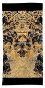 Waxleaf Privet Blooms In Black And White - Color Invert With Golden Tones Abstract Beach Towel