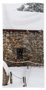 Wayside Inn Grist Mill Covered In Snow Millstone Beach Towel