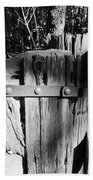 Weathered Fence In Black And White Beach Towel