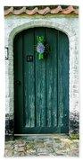 Weathered Green Door Beach Towel
