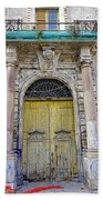 Weathered Old Artistic Door On A Building In Palermo Sicily Beach Towel