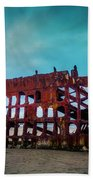 Weathered Rusting Shipwreck Beach Towel