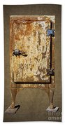 Weathered Rusty Refrigerator Beach Towel