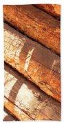 Weathered Wood Log Cabin Beach Towel