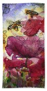 Wee Bees And Poppies Beach Towel