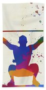 Weightlifter Paint Splatter Beach Towel