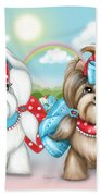Welcome Spring Maltese And Yorkie Beach Towel by Catia Lee