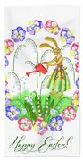 Welcome Spring. Rabbit And Flowers Beach Towel