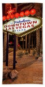 R.i.p. Welcome To Downtown Las Vegas Sign At Night Beach Towel