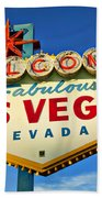 Welcome To Las Vegas Sign Beach Towel by Garry Gay