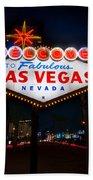 Welcome To Las Vegas Beach Towel by Steve Gadomski