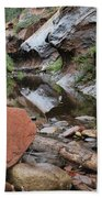 West Fork Trail River And Rock Horizontal Beach Towel