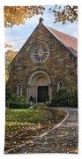 West Parish Chapel In Fall, Andover, Ma Beach Towel