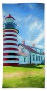 West Quaddy Head Lighthouse Beach Towel