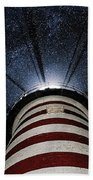 West Quoddy Head Lighthouse Night Light Beach Towel by Marty Saccone