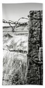 Western Barbed Wire Fence Black And White Beach Towel
