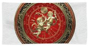 Western Zodiac - Golden Gemini - The Twins On White Leather Beach Towel