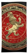 Western Zodiac - Golden Leo - The Lion On Black Velvet Beach Towel
