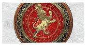 Western Zodiac - Golden Leo - The Lion On White Leather Beach Towel