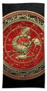 Western Zodiac - Golden Scorpio - The Scorpion On Black Velvet Beach Towel