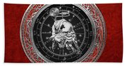 Western Zodiac - Silver Taurus - The Bull On Red Velvet Beach Towel