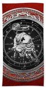 Western Zodiac - Silver Taurus - The Bull On Red Velvet Beach Towel