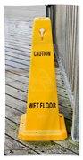 Wet Floor Warning Beach Towel