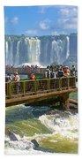 Wet Walkways In The Iguazu River In Iguazu Falls National Park-brazil  Beach Towel