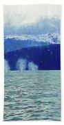 Whales Blowing Beach Towel