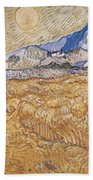 Wheat Field With Reaper Harvest In Provence Beach Sheet