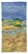 Wheat Field With Stormy Sky Beach Towel