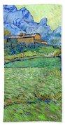 Wheat Fields In A Mountainous Landscape, By Vincent Van Gogh, 18 Beach Towel