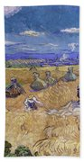 Wheat Fields With Reaper, Auvers Beach Towel
