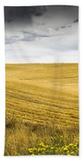 Wheat Fields With Storm Beach Towel