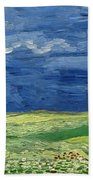Wheatfield Under Thunderclouds At Wheat Fields Van Gogh Series, By Vincent Van Gogh Beach Towel
