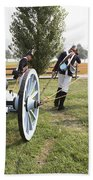 Wheeling The Cannon At Fort Mchenry In Baltimore Maryland Beach Towel