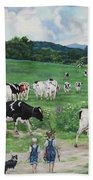 When The Cows Come Home, It's Milking Time Beach Towel
