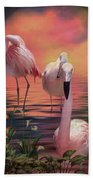 Where The Wild Flamingo Grow Beach Towel