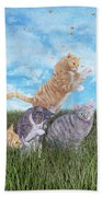 Whimsical Cats Beach Towel