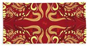 Whimsical Organic Pattern In Yellow And Red I Beach Towel
